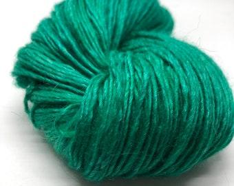 Emerald. Free Shipping! Hand dyed yarn on DK weight yarn merino wool, silk & alpaca. Indie dyed yarn. Ready to ship. Green yarn.