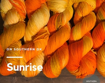 Sunrise on Southern DK weight yarn. Tonal orange and egg yellows.. Ready to ship. Free shipping.