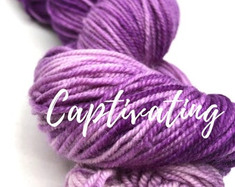 Captivating. Free Shipping! Hand dyed sport weight yarn on superwash merino wool & nylon. Indie dyed yarn. Ready to ship.