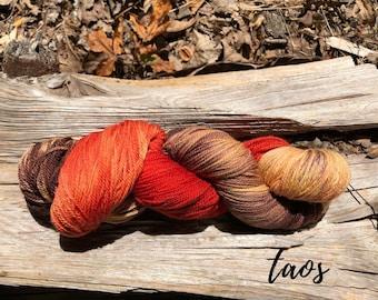 Taos hand dyed sport weight yarn on superwash merino wool indie dyed sock yarn. Ready to ship. Free shipping.