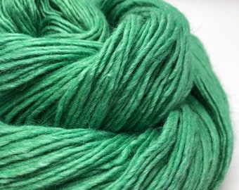 Jade. Free Shipping! Hand dyed yarn on DK weight yarn merino wool, silk & alpaca. Indie dyed yarn. Ready to ship. Tonal green yarn.
