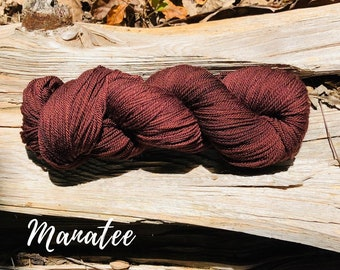 Manatee hand dyed sport weight yarn on superwash merino wool indie dyed sock yarn. Ready to ship. Free shipping.