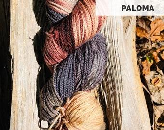 Paloma hand dyed sport weight yarn on superwash merino wool indie dyed sock yarn. Ready to ship. Free shipping.