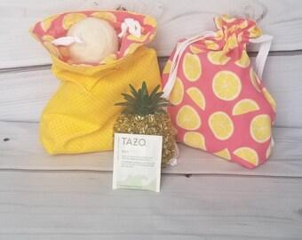 Pink Lemonade Handmade Project Bag. Knitting. Crochet. Quilting. Drawstring Bag. Sock Yarn Bag, Ready to Ship. Free Shipping. Bag. Fabric.