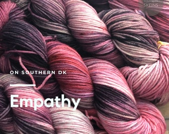 Empathy: DK weight hand dyed yarn. 75/25 blend Superwash Merino and Nylon. 100g. 245yds. Free Shipping. Ready to ship.