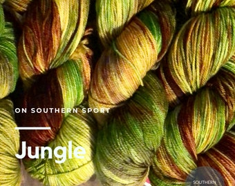 Jungle: hand dyed on sport weight yarn base of Southern Sport. Superwash merino wool and nylon. 100g. 328yds. Ready to ship. Free Shipping