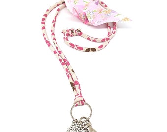 Purple Mothers day Kimono cord ID Holder Japanese Lanyard tree of life chirimen gift for her oriental traditional keychain modern