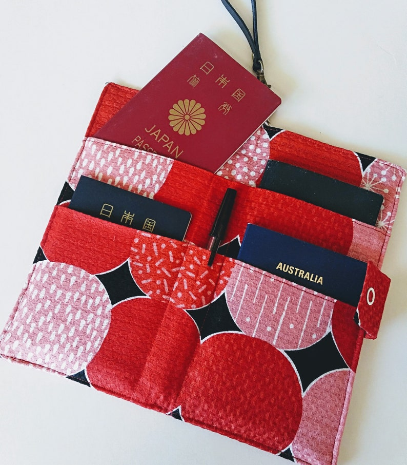 gift for traveler holiday travel wallet Gift for mum Fabric Travel Organizer for big family Family passport holder Red x black Dots