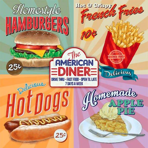 Vintage Blechschild, Retro, Shabby-Chic, Wall Plaque, Küche, American Diner