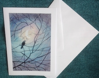 Hand Made Greetings Card! Blackbird in the Moonlight, From an original painting by Pat Smith
