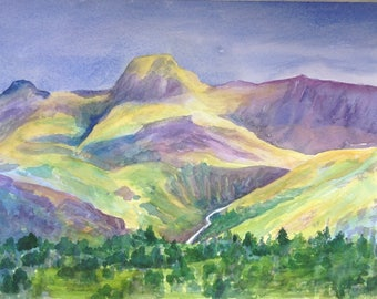 """Hand Made Greetings Card, The Langdale Pikes, Lake District, 5"""" x  7"""", From an original watercolour painting by Pat Smith"""
