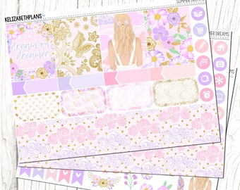 Summer Dreams || Floral, Summer, Girl, Fashion, Pink, Planner Stickers, MINI KIT