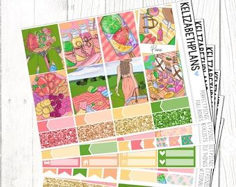 Perfect Picnic || Summer, Spring, Date, Outdoors, Girl, Fashion, Planner Stickers, FULL KIT