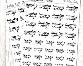 Laundry Day (Monochrome Collection) | Household, Chores, Laundry, Washing, Planner Stickers