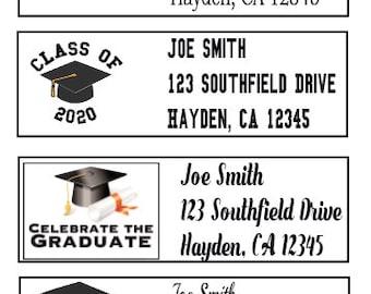 Grad Cap Class of 2020 Graduation Personalized Return Address Stickers 27 labels
