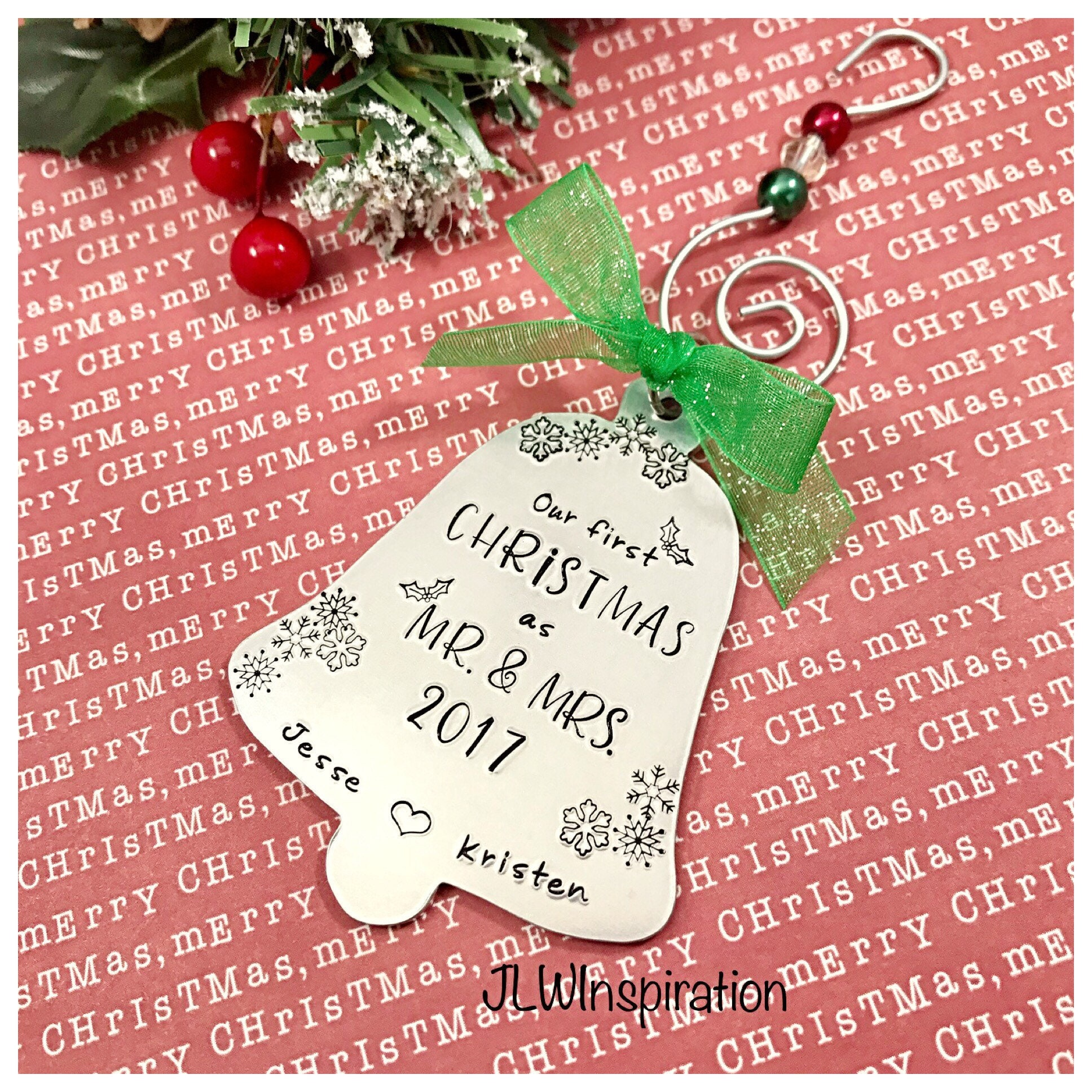 Personalized Our First Christmas as Mr and Mrs ornament bell