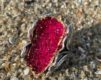 Coated Pomegranate Druzy Quartz Ring size 9