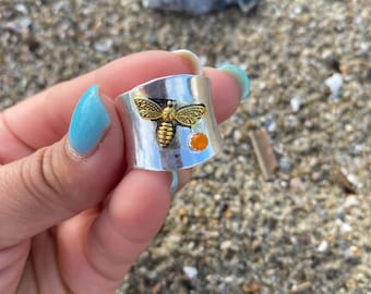 Bee Orange zircon Thai silver Size 9