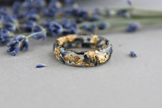 Real Flowers Ring Jewelry Resin Rings Wood Terrarium Wood Ring Resin Ring Women Nature Ring Resin Ring with Yellow Flowers