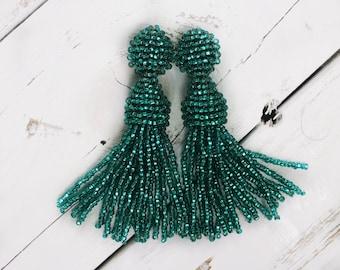 Long Emerald earrings tassel earrings in the style Oscar de la Renta beaded tassel earrings Tassel Oscar jewelry  Oscar bead clip on tassel