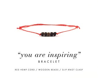 You Are Inspiring Bracelet For Happy Thoughts / Red Hemp, Wooden Beads, Dainty Minimalist Simple Thread Bracelet, Gift, Stocking Stuffer