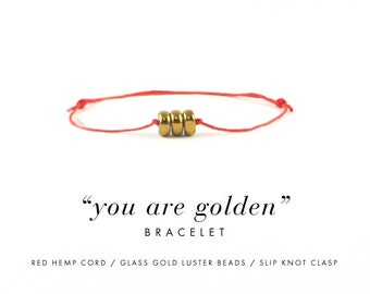 You Are Golden Bracelet For Happy Thoughts / Red Hemp, Gold Luster Beads, Dainty Minimalist Simple Thread Bracelet, Gift, Stocking Stuffer