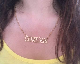 GO VEGAN Necklace - Vegan Jewellery Fashion **Free UK Postage**