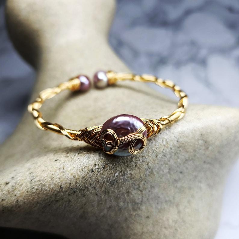 Shaped bright baroque freshwater pearl bracelet fashion 14k gold bracelet bracelet