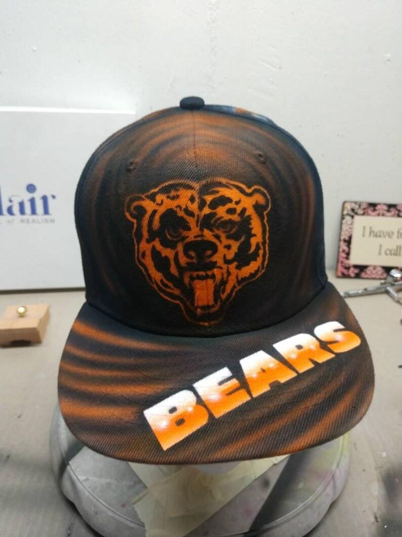 036ec75fb83c3 Custom Airbrushed Chicago Bears flat brimmed snapback hats.