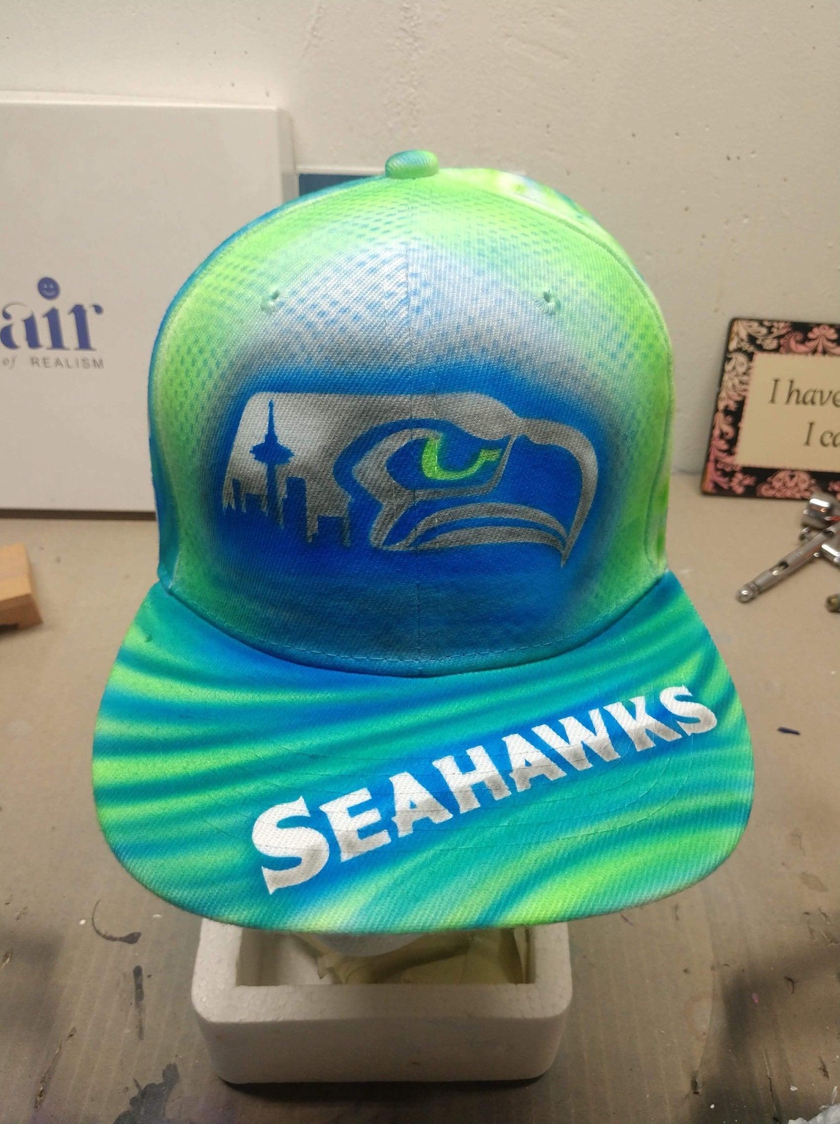 fc3d8037b1d06 Custom airbrushed Seattle Seahawks flat brimmed snapback hat