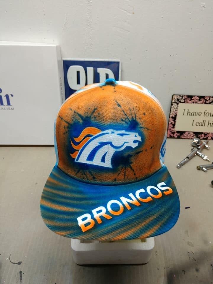 f21f2240bf651 Custom airbrushed Denver Broncos flat brimmed