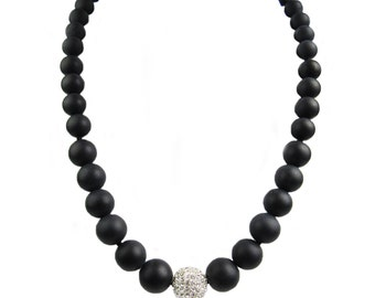 Black Agate Necklace with Center Crystal Bead. Handmade in the U.S.A.