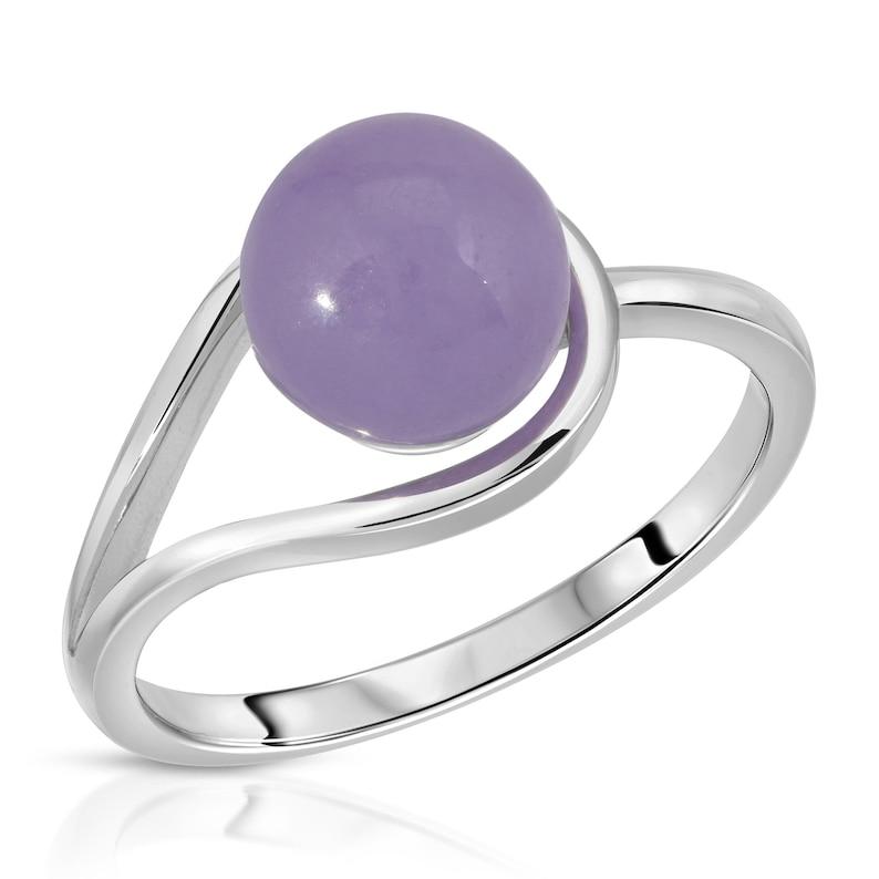 8mm Lavender Real Jade Bead Ring Sterling Silver .925