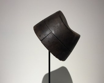 Wooden Hat Mold- Bashing Block - Form - Fez Style - European - France -1900-1950 - Free Shipping - Metal Stand - Rustic - Industrial - shape