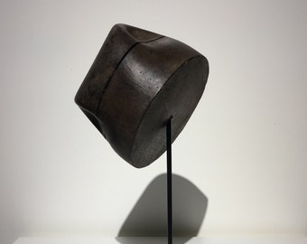 Wooden Hat Mold- Bashing Block - Form - Fedora Style - European - France -1900-1950 - Free Shipping - Metal Stand - Rustic - Industrial -