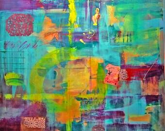 Original Artwork - Acrylic - Abstract - Painting - Rainbow - Venice - Art - Wall Decor - Multicolor - Italy - Ready to Hang - Street Art