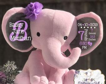 Birth announcement, birth stats, new baby gift , elephant, newborn present, newborn gift, baby shower, baby gift, baby keepsake