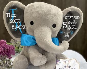 Birth announcement, stuffed animal, new baby gift , elephant, newborn present, newborn gift, baby shower, baby gift, baby present, baby boy