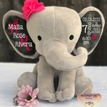 Birth announcement, birth stats, new baby gift , elephant, newborn present, newborn gift, baby shower, baby gift, baby keepsake