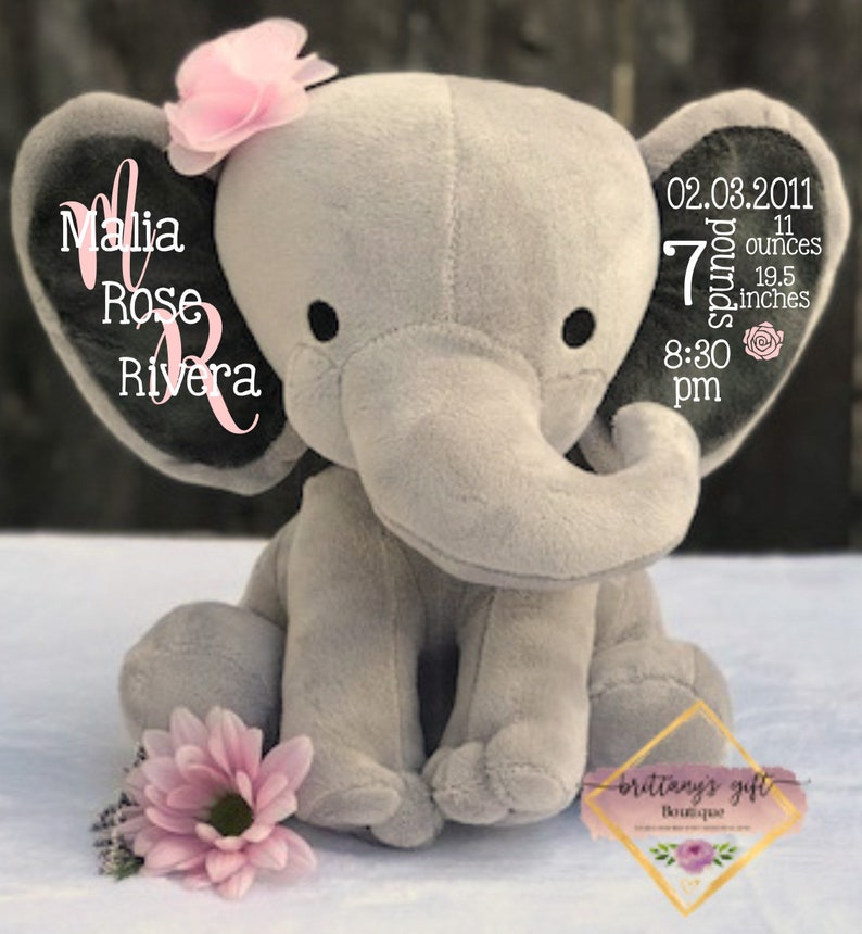 Birth announcement birth stats new baby gift  elephant Light Pink