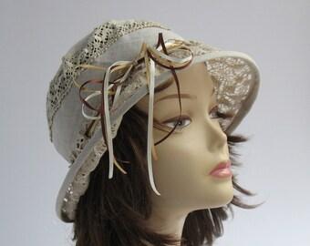 01d2d56c Royal Ascot Hat Summer Lace Hat Wedding hat beige hat Racing derby hat Tea  Party hat 1920s style hat downton abbey hat Romantic summer hat