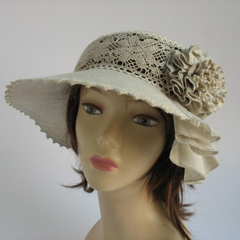 Womens linen hats Suns hats womens Sun lace cotton hat Linen women/'s hats Cotton summer hats Beach linen hats Sun hats lady Russian linen .