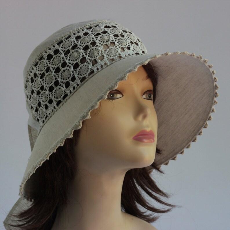 Wide brimmed summer hat Floppy Sun Hat Womens Hat Trendy Natural Hat Summer fashion Beach wear Linen hat Flax hat handmade beige wide brim.