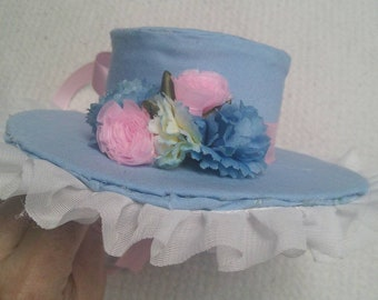 Lolita style miniature hat in blue and pink.
