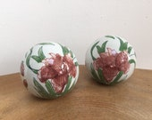 Pair 2 Vintage Hand Painted Porcelain Decorative Balls, Spheres - Oriental, Asian Style, Dusky Pink Iris Flowers