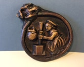 Oakapple Designs, England Medieval Style Wall Plaque, Roundel -Replica Church Carving, Lady with Butter Churn, Faux Wood