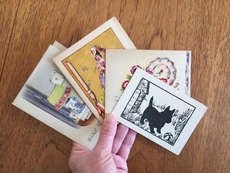Scottie Dog Interior Still Life Crinoline Lady Greetings Cards Anemone Flowers 4 Vintage 40/'s,50/'s Birthday