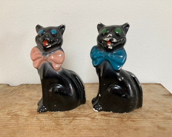 Two Vintage Mid Century Chalkware Black Cat Figurines, Fairing or Carnival Prizes