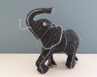 Vintage African Wire and Beadwork Elephant Figurine - Shona Art, 15.5cm tall
