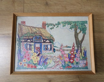 Vintage Framed Print, 'English Country Cottage and Garden Embroidery', Hollyhocks,thatched roof
